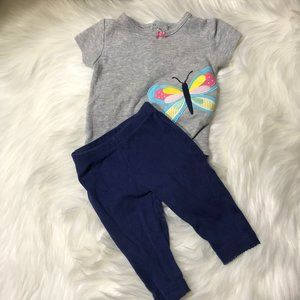 Carter's baby girl 3M butterfly outfit